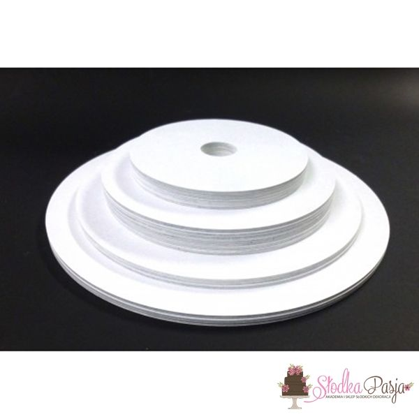 Podkład pod tort z otworem biały 18 cm