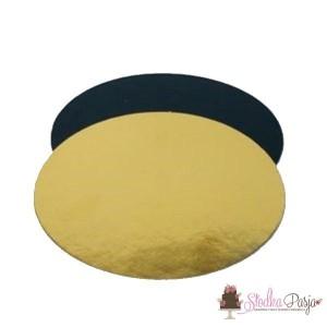 Podkład pod tort okrągły 26 cm, grubość 0,4 cm - ZŁOTY/CZARNY