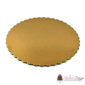 Podkład pod tort okrągły 26 cm, grubość 0,3 cm - ZŁOTY