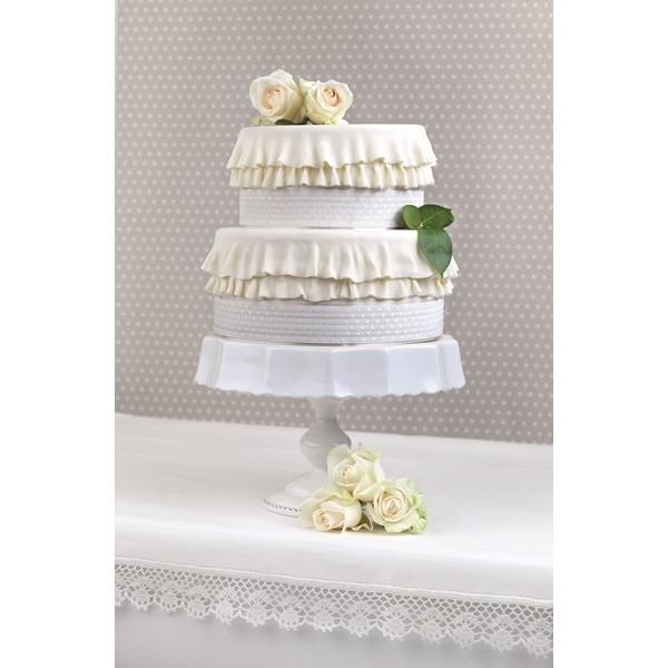 Wstążka na tort 15 m KORONKA BIAŁA