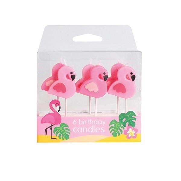 Świeczki Flamingi 6 szt.