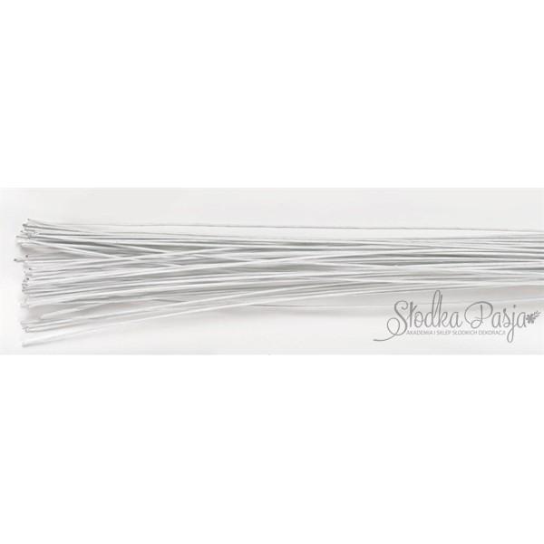 Drut florystyczny rozmiar 24, kolor biały - 50 szt