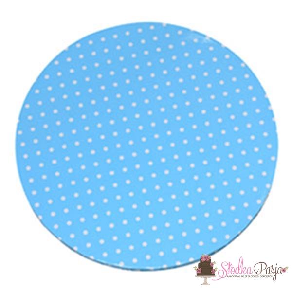 Podkład pod tort, okrągły 40 cm, grubość 1,2 cm, niebieski w kropki