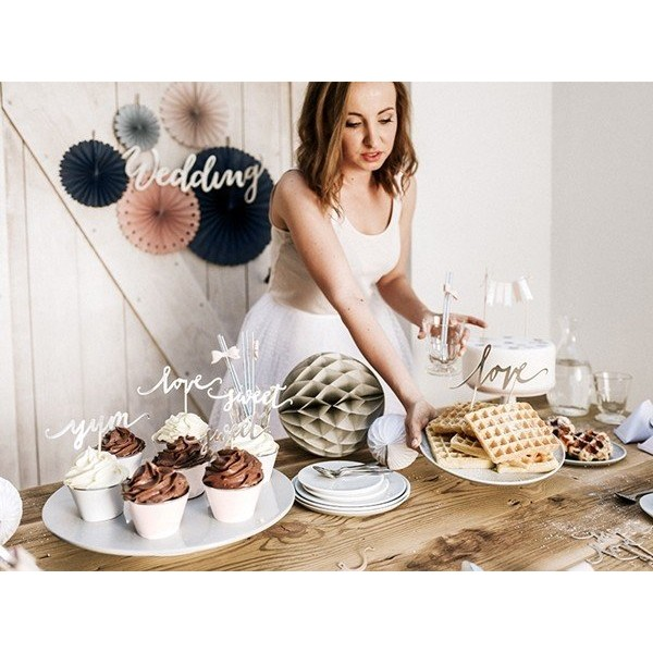 Dekoracje do muffinek Love srebrne 6 szt.