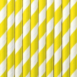 Słomki papierowe żółto-białe paski 10 szt.
