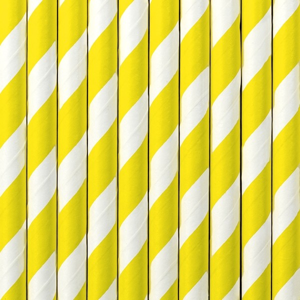 Słomki papierowe żółto białe paski 10 szt.