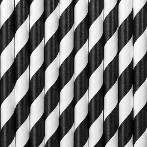 Słomki papierowe czarno-białe paski 10 szt.