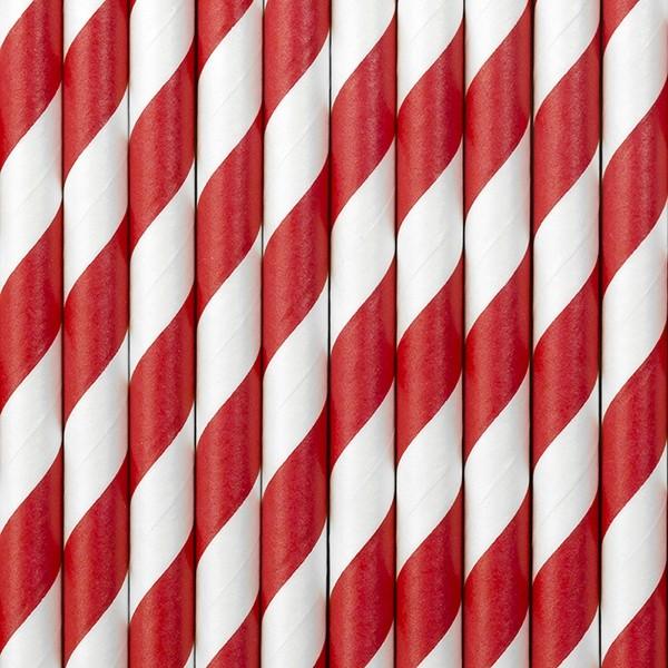 Słomki papierowe czerwono białe paski 10 szt.