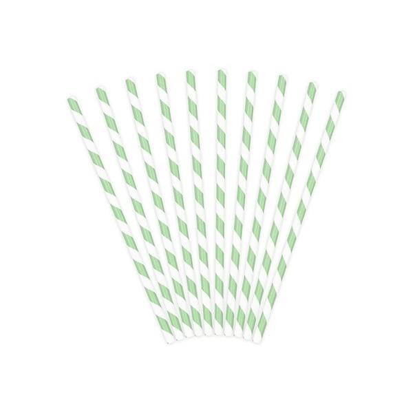 Słomki papierowe jasnomiętowe białe paski 10 szt.