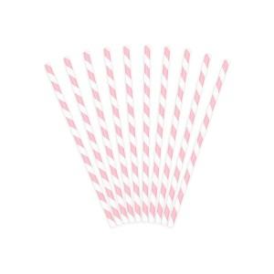 Słomki papierowe jasnoróżowe-białe paski 10 szt.