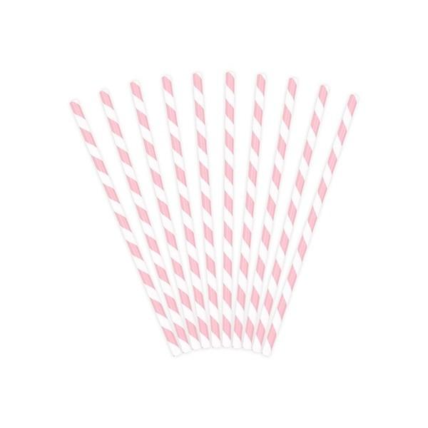 Słomki papierowe jasnoróżowe białe paski 10 szt.