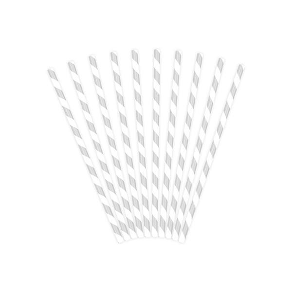 Słomki papierowe srebrno-białe paski 10 szt.