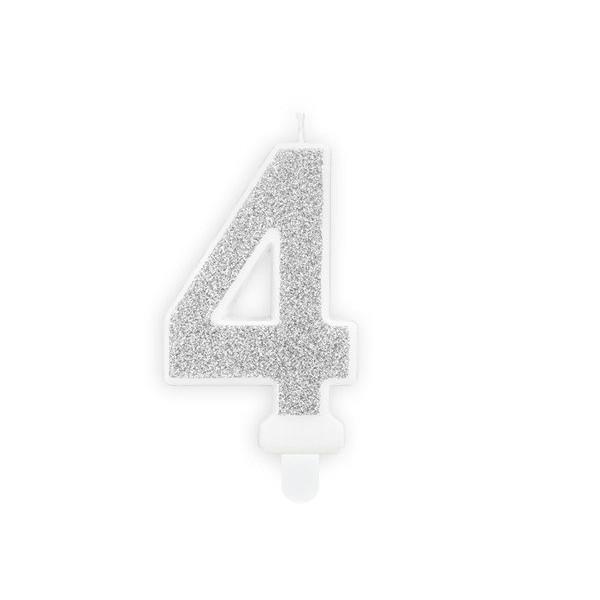 Świeczka urodzinowa cyfra 4 srebrna