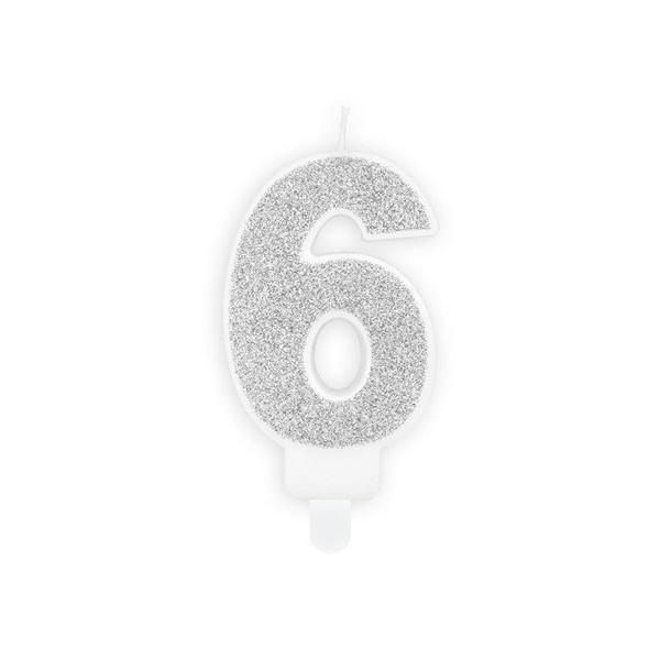 Świeczka urodzinowa cyfra 6 srebrna