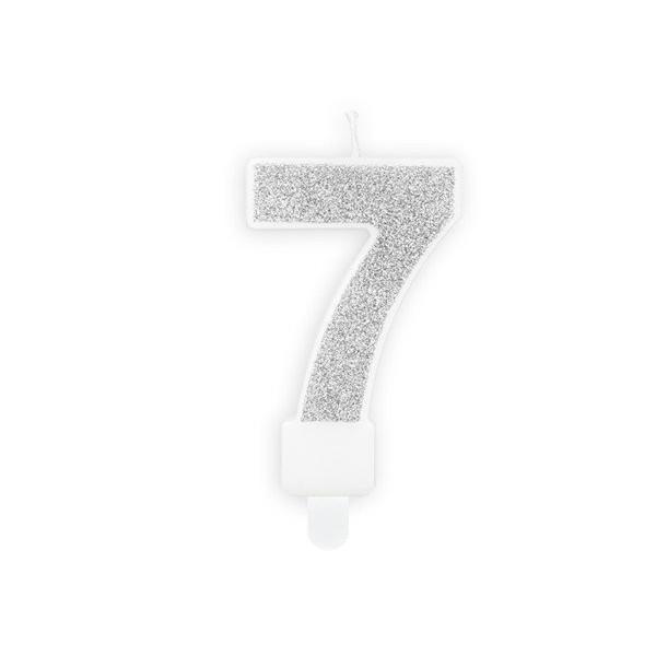 Świeczka urodzinowa cyfra 7 srebrna
