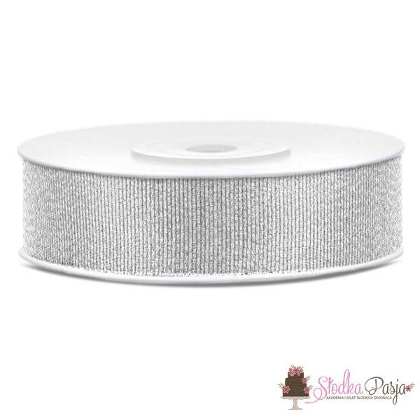 Taśma dekoracyjna brokatowa srebrna