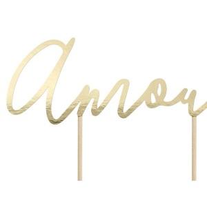 Topper na tort Amour - złoty