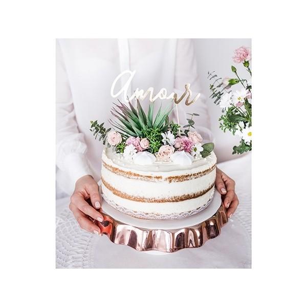Topper na tort Amour złoty
