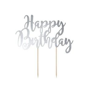 Topper na tort Happy Birthday - srebrny