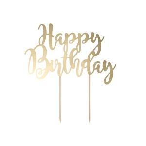 Topper na tort Happy Birthday - złoty