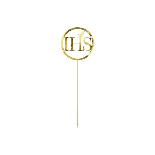 Topper na tort IHS złoty