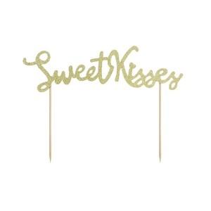 Topper na tort Sweet Kisses - złoty