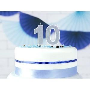 Świeczka urodzinowa cyfra 0, srebrna