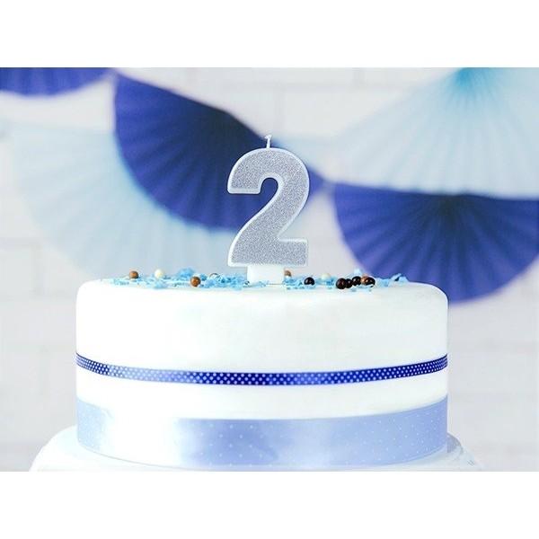 Świeczka urodzinowa cyfra 2, srebrna