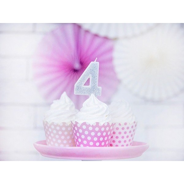 Świeczka urodzinowa cyfra 4, srebrna