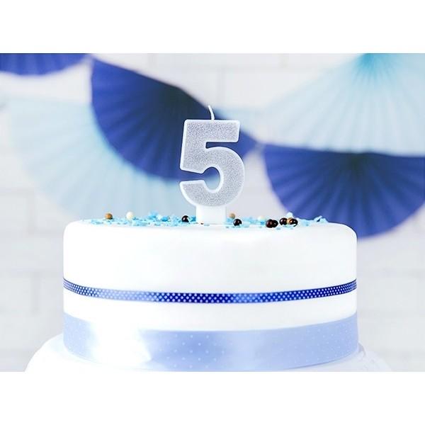 Świeczka urodzinowa cyfra 5, srebrna