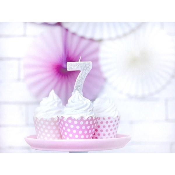 Świeczka urodzinowa cyfra 7, srebrna