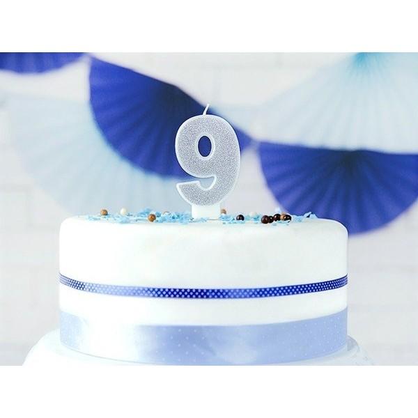 Świeczka urodzinowa cyfra 9 srebrna