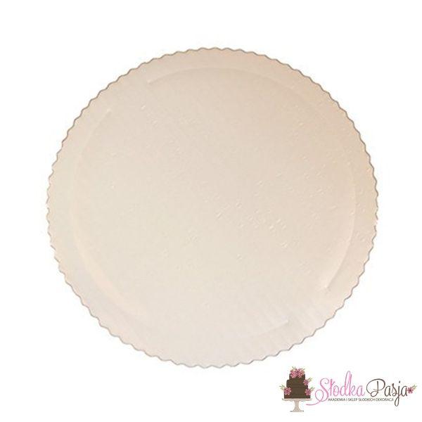 Podkład pod tort okrągły średnica 20 cm gruby BIAŁY