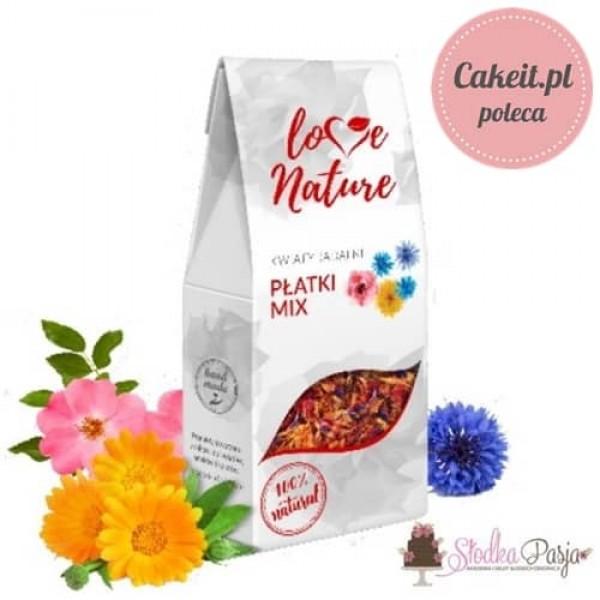 Kwiaty jadalne naturalna posypka Love Nature - Mix płatków