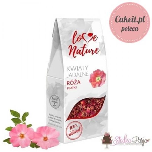 Kwiaty jadalne naturalna posypka Love Nature - Róża Płatki