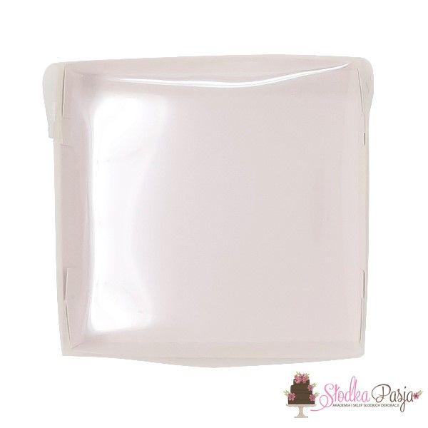 Pudełeczko z okienkiem na ciasteczka białe 14x14x4