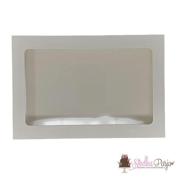 Pudełeczko z okienkiem na ciasteczka białe 15x21x2