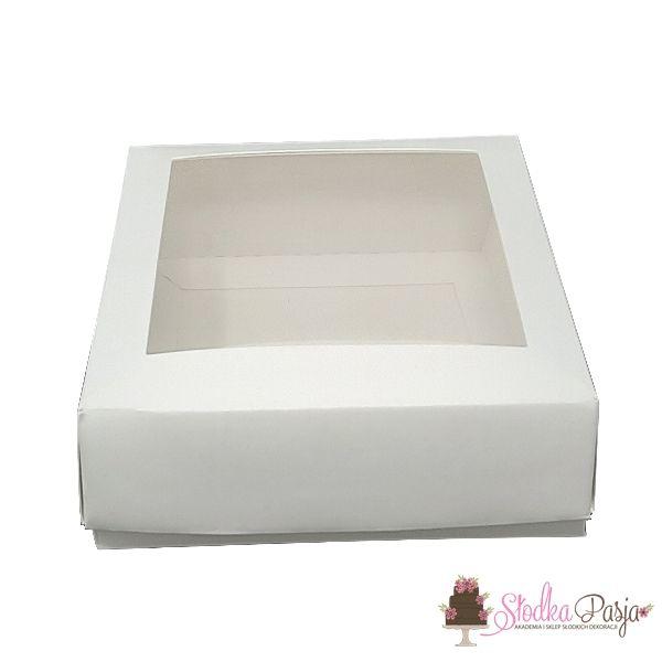 Pudełeczko z okienkiem na ciasteczka białe 15x15x2