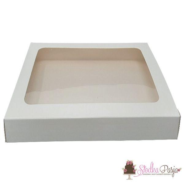 Pudełeczko z okienkiem na ciasteczka białe 25x25x4