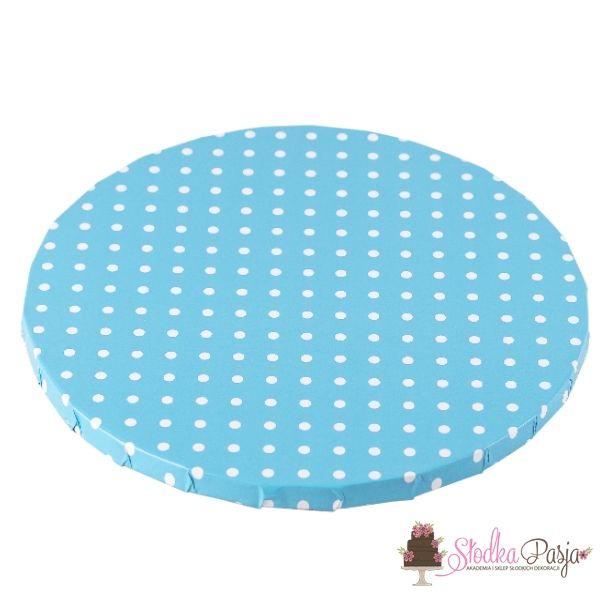 Podkład pod tort okrągły 30 cm niebieski w kropki