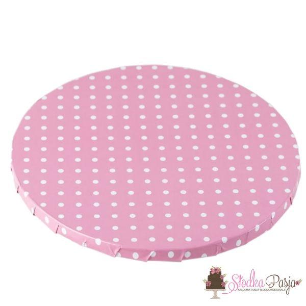 Podkład pod tort okrągły 25 cm różowy w kropki