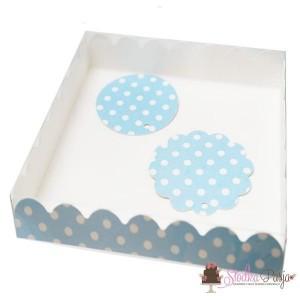 Pudełko i bileciki - Błękitne w kropki
