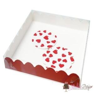Pudełko i bileciki - Ciemne czerwone