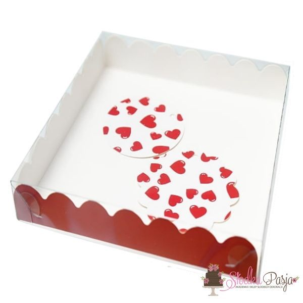 Pudełko i bileciki Ciemne czerwone