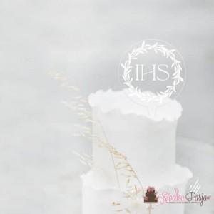 Topper na tort MM Komunia IHS -18 cm