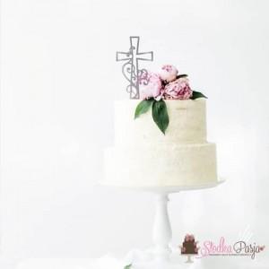 Topper na tort MM krzyż z ornamentem 15 cm - srebrny