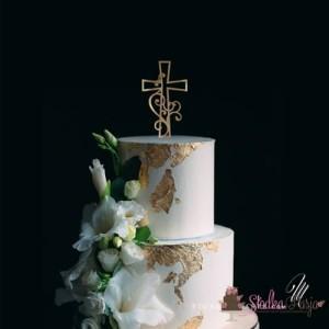 Topper na tort MM krzyż z ornamentem 15 cm - złoty