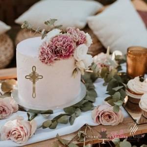 Topper na tort dekor na front tortu MM krzyżyk z ornamentem 9 cm - złoty
