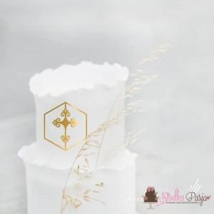 Topper na tort dekor na front tortu MM krzyżyk z ornamentem w ramce 7 cm - złoty