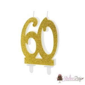Świeczka urodzinowa liczba 60 złota